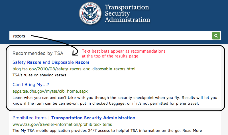 Text best bets for 'razors' on TSA.gov