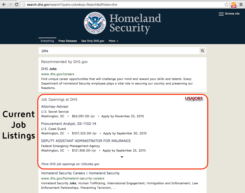 Search results for Jobs on DHS.gov