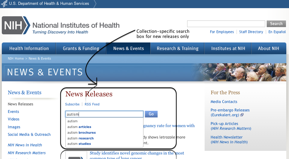 News-only search box on NIH.gov's News Releases page