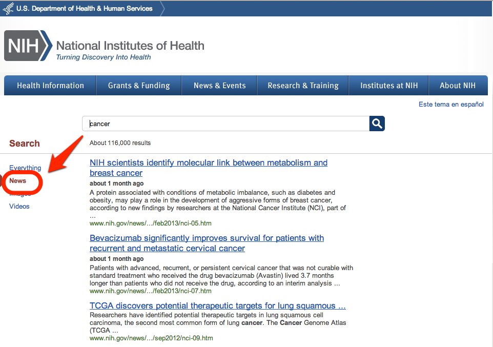 Collection-based search results for cancer in NIH.gov news releases