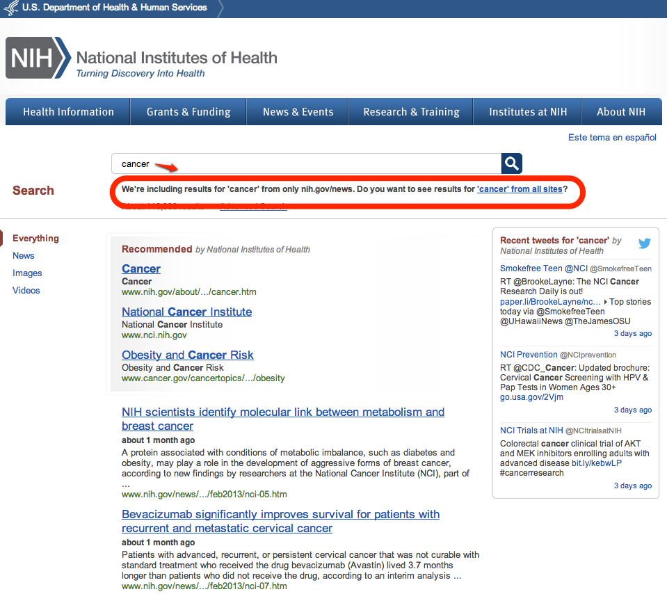 Sitelimit-based search results for cancer in NIH.gov news releases