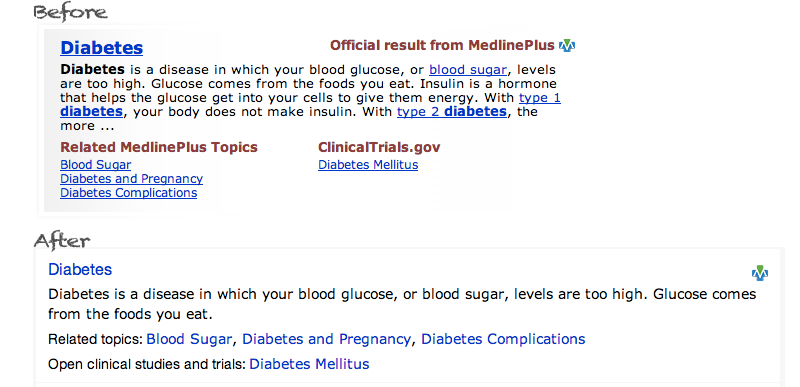 Health topic result for diabetes on USA.gov