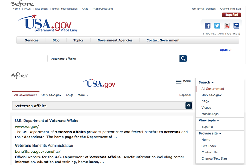 Site brand and navigation on USA.gov