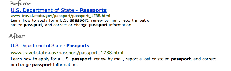 Search result for passport on USA.gov
