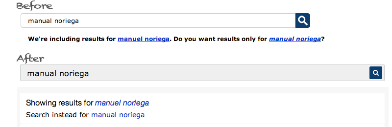 Spelling suggestion for manual noriega (sic) on USA.gov
