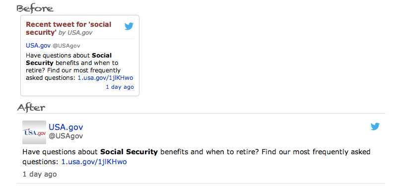 Tweet for social security on USA.gov