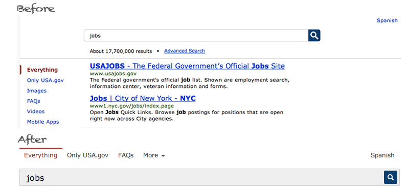 Search verticals on USA.gov