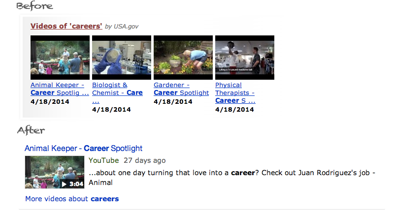 Video search result for careers on USA.gov
