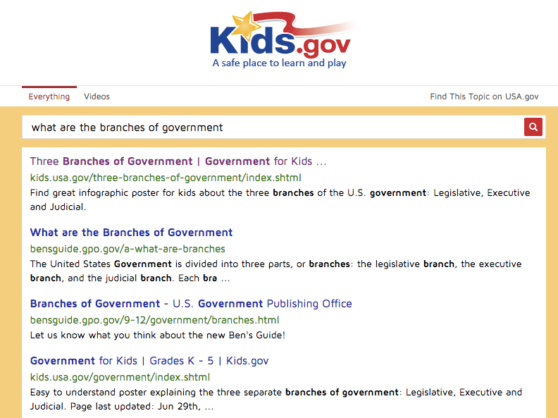 Standard search results for 'what are the branches of government' on Kids.gov