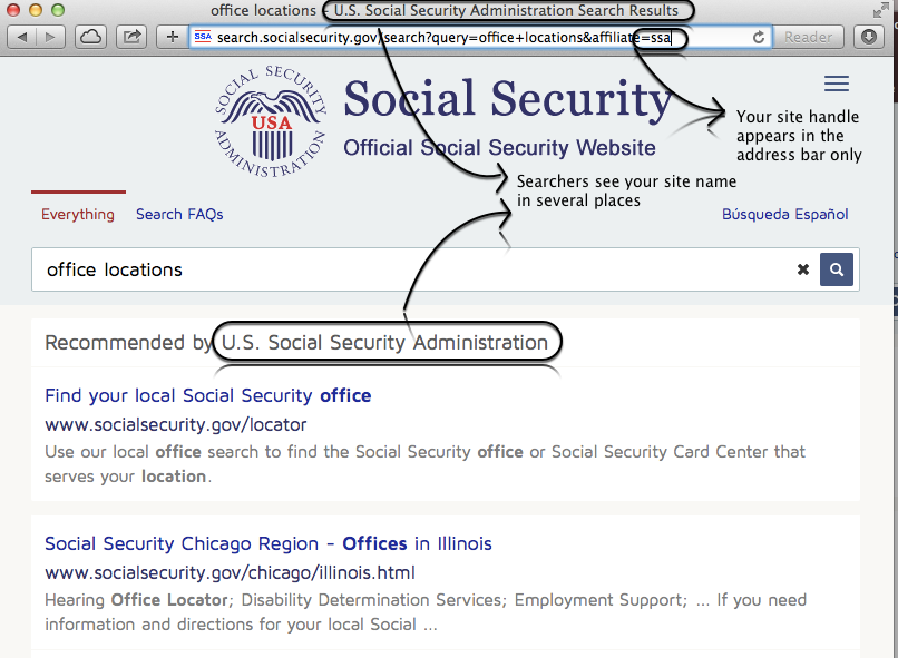 Site name and handle on SocialSecurity.gov's search results page