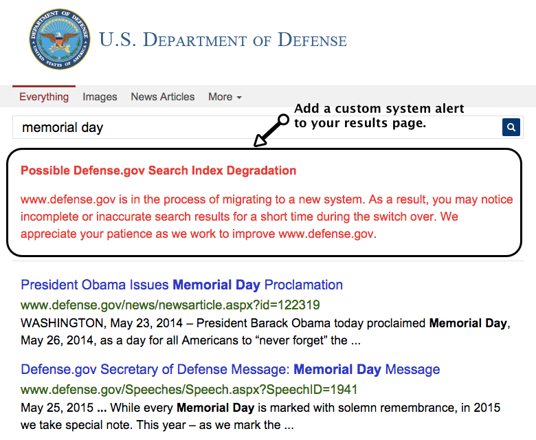 Custom System Alert on Defense.gov