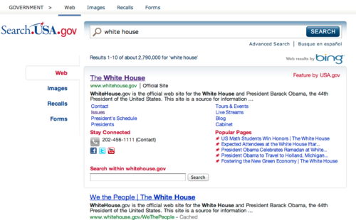 Web results for a search on white house on USA.gov