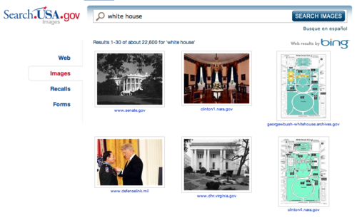 Image results for a search on white house on USA.gov