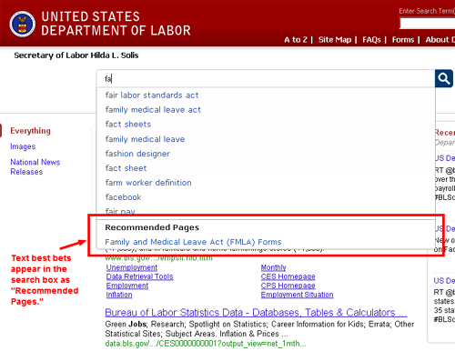 Type-ahead suggestions on DOL.gov's search results  page