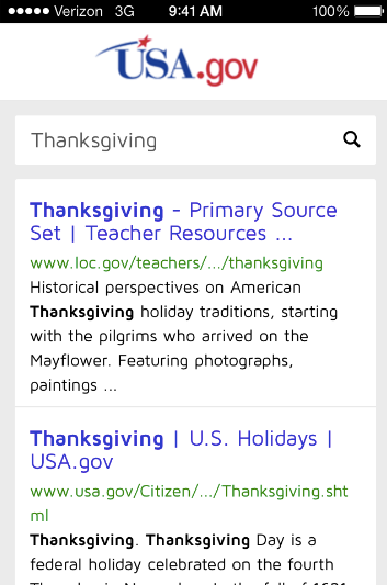 Mobile search results page on USA.gov